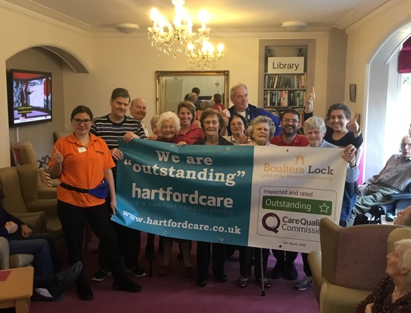 Hartford Care celebrates third CQC 'Outstanding' rating with Boulters Lock picture